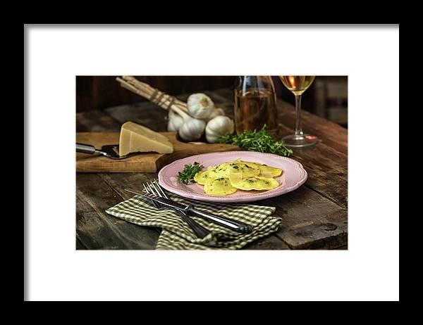 Stuffed Framed Print featuring the photograph Ravioli Pasta by Gmvozd