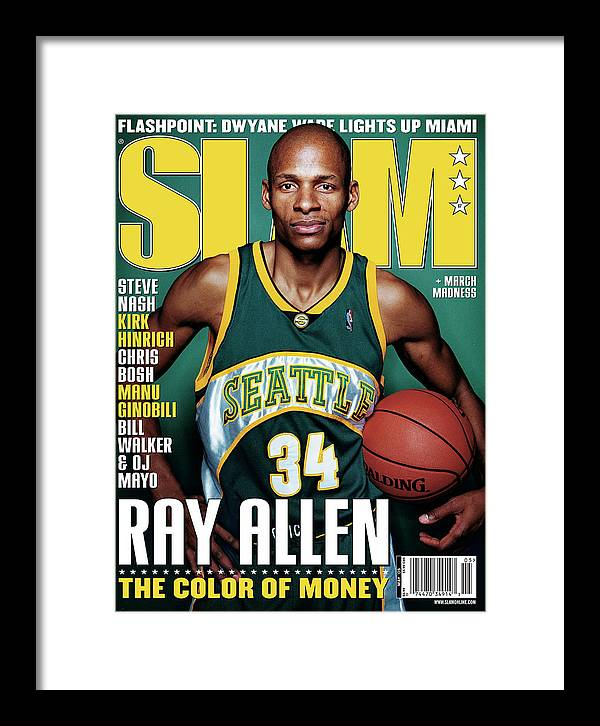 Ray Allen Framed Print featuring the photograph Ray Allen: The Color of Money SLAM Cover by Clay Patrick McBride