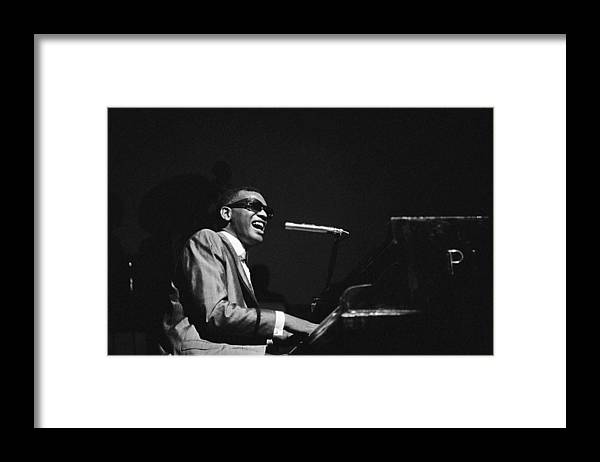 Ray Charles - Musician Framed Print featuring the photograph Ray Charles Behind The Scence At The by Reporters Associes