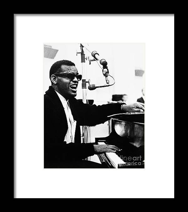 Singer Framed Print featuring the photograph Ray Charles Singing At The Piano by Bettmann