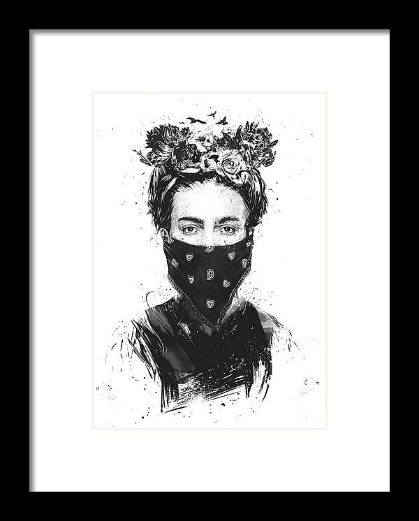 Girl Framed Print featuring the drawing Rebel girl by Balazs Solti