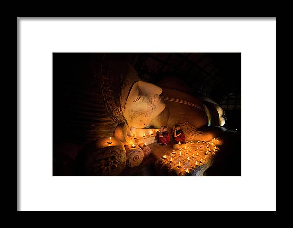 Tranquility Framed Print featuring the photograph Reclining Buddha In Bagan by Www.tonnaja.com