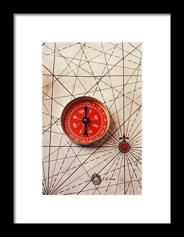 Two Objects Framed Print featuring the photograph Red Compass On Old Map by Garry Gay