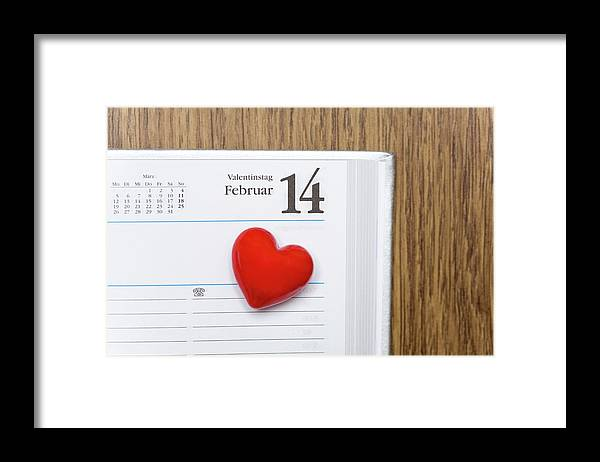 Celebration Framed Print featuring the photograph Red Heart Marking Valentines Day In A by Stock4b-rf