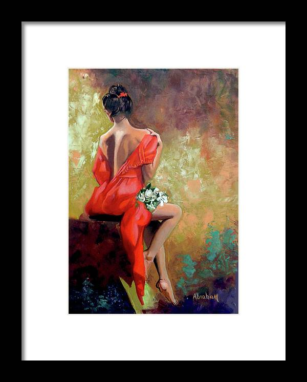 Women Framed Print featuring the painting Red Lady 2 by Jose Manuel Abraham