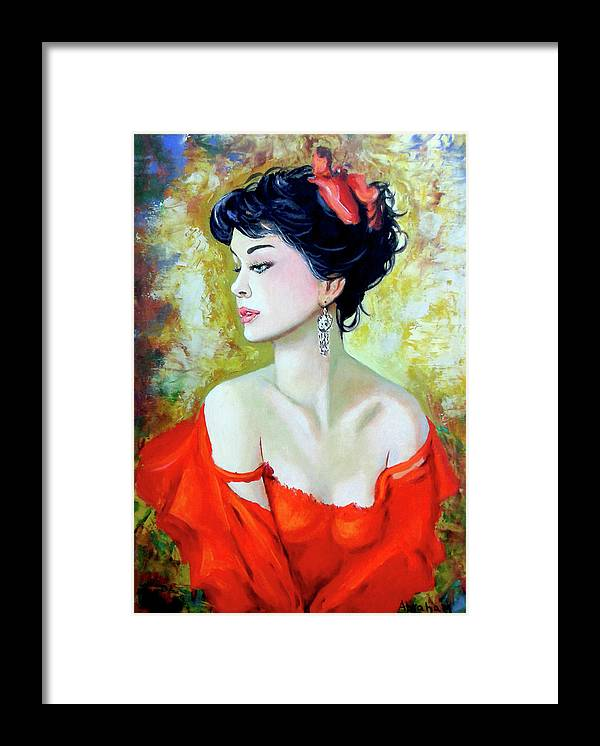 Lady Framed Print featuring the painting Red Lady by Jose Manuel Abraham