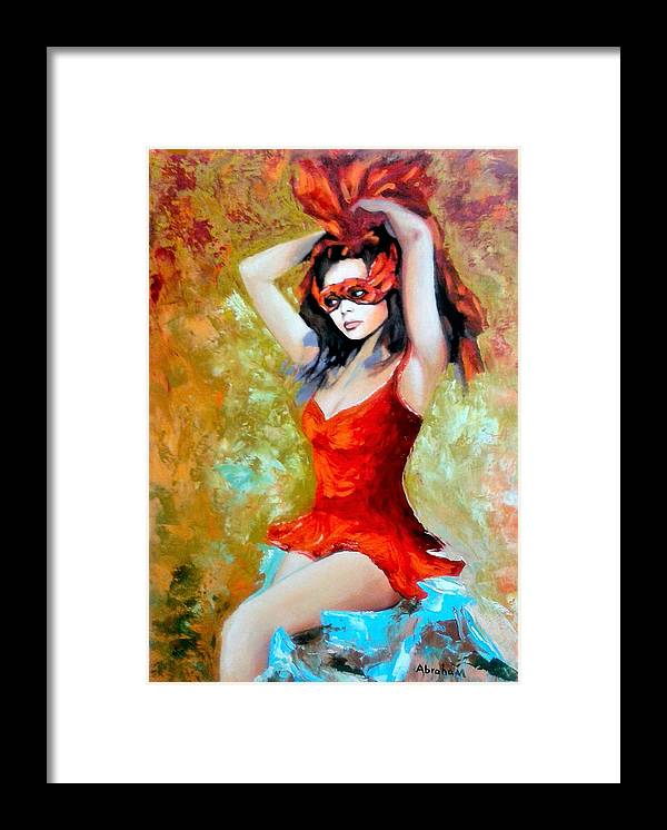 Women Framed Print featuring the painting Red Mask Lady by Jose Manuel Abraham