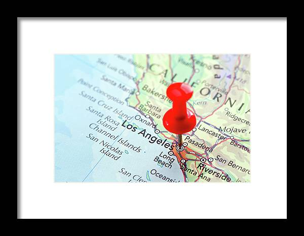 Focus Framed Print featuring the photograph Red Pin Pointed On The Los Angeles Map by Yorkfoto