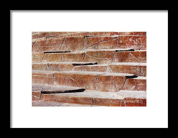 Gravityx9 Framed Print featuring the photograph Red Rock Stone Textured Stairs by Gravityx9 Designs