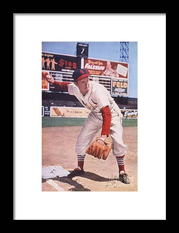 St. Louis Cardinals Framed Print featuring the photograph Red Schoendienst At Third by Transcendental Graphics