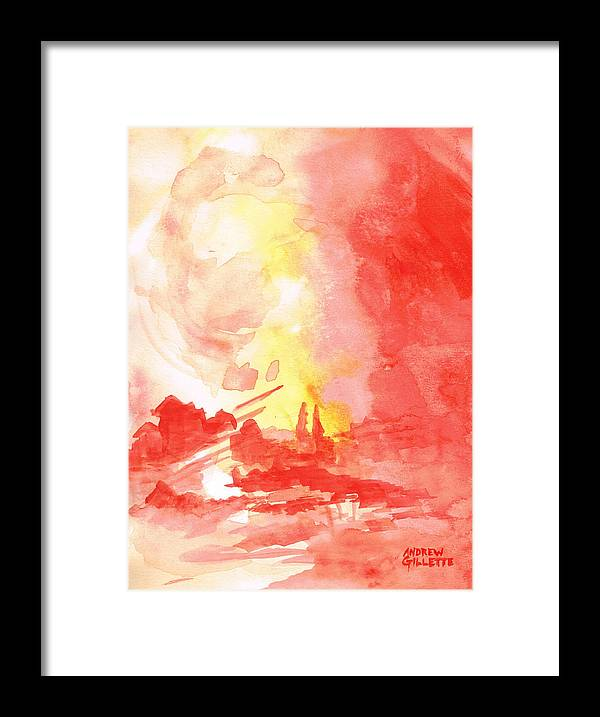 Red Framed Print featuring the painting Red Village Abstract 1 by Andrew Gillette
