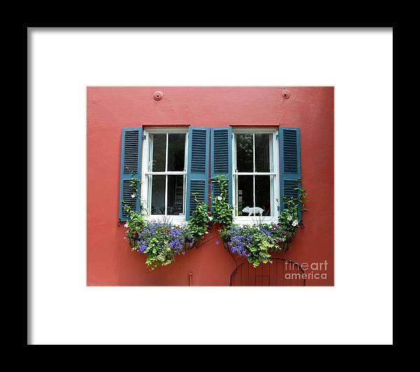 Shutter Framed Print featuring the photograph Red Wall With Windows, Charleston by Mark Swick