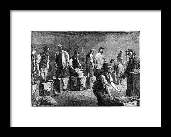 Working Framed Print featuring the drawing Refilling Chests In A Tea Warehouse by Print Collector