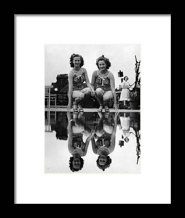 Mid Adult Women Framed Print featuring the photograph Reflected Twins by Fox Photos