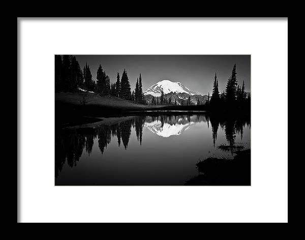 Scenics Framed Print featuring the photograph Reflection Of Mount Rainer In Calm Lake by Bill Hinton Photography