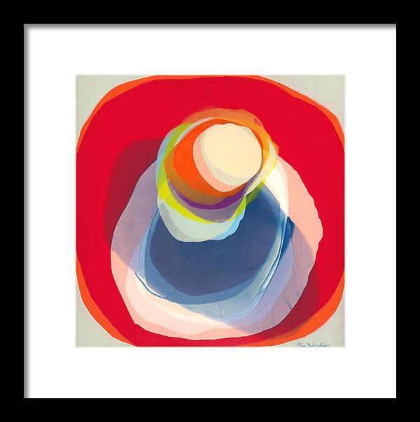 Abstract Framed Print featuring the painting Reflective by Claire Desjardins