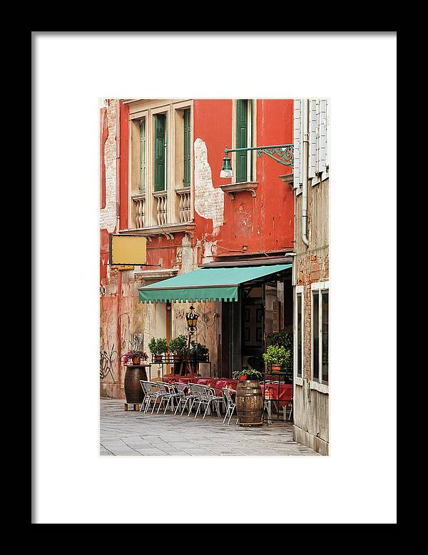 Empty Framed Print featuring the photograph Restaurant In Venice by Mammuth