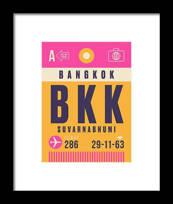 Airline Framed Print featuring the digital art Retro Airline Luggage Tag - Bkk Bangkok Thailand by Organic Synthesis