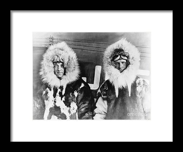 People Framed Print featuring the photograph Richard E. Byrd And Floyd Bennett by Bettmann