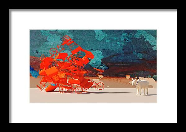 Rickshaw Framed Print featuring the digital art Rickshaw Pileup and Cow by Heike Remy