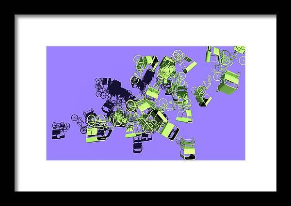 Rickshaw Framed Print featuring the digital art Green Rickshaws Flying by Heike Remy
