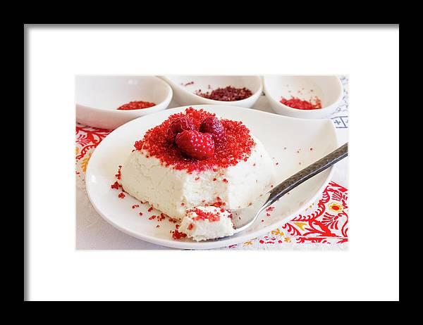 Sugar Framed Print featuring the photograph Ricotta With Raspberry Sugar by Katya Lyukum