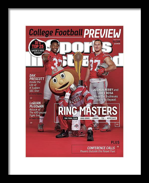 Magazine Cover Framed Print featuring the photograph Ring Masters 2015 College Football Preview Issue Sports Illustrated Cover by Sports Illustrated