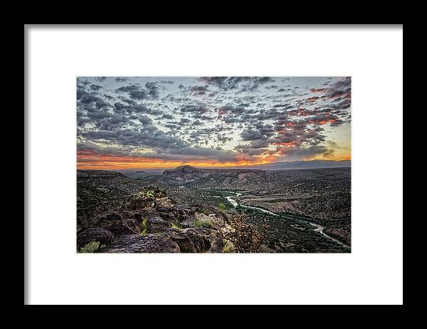 Rio Grande Framed Print featuring the photograph Rio Grande River Sunrise 2 - White Rock New Mexico by Brian Harig