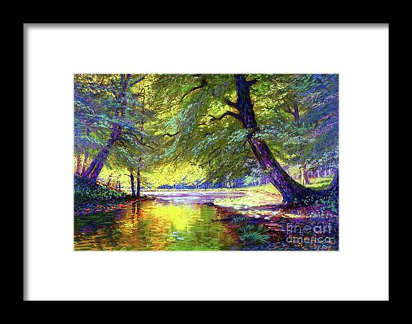 Forest Framed Print featuring the painting River Of Gold by Jane Small