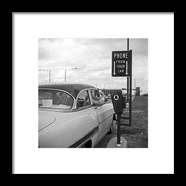 1950-1959 Framed Print featuring the photograph Roadside Public Telephone by Underwood Archives
