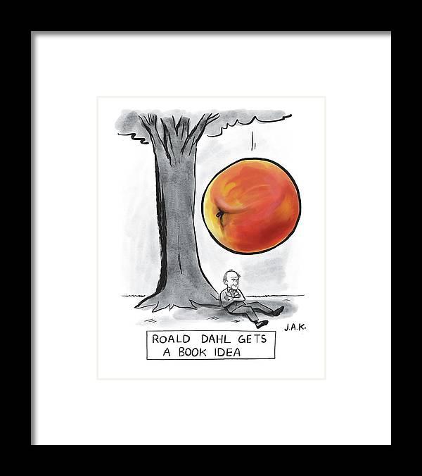 Captionless Framed Print featuring the drawing Roald Dahl Gets a Book Idea by Jason Adam Katzenstein