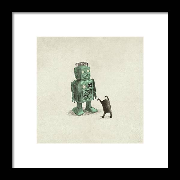 Vintage Framed Print featuring the drawing Robot Vs Alien by Eric Fan