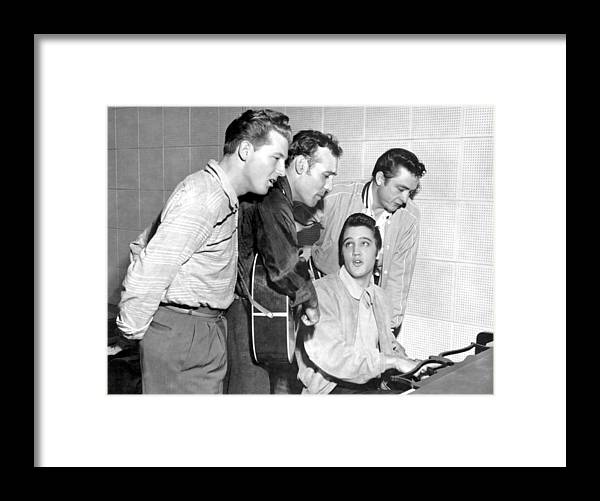 1950-1959 Framed Print featuring the photograph Rock And Roll Musicians Jerry Lee by Michael Ochs Archives