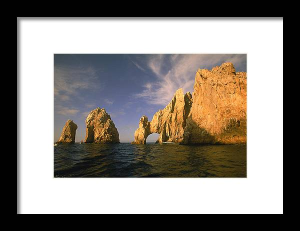 Scenics Framed Print featuring the photograph Rock Formations, Cabo San Lucas, Mexico by Walter Bibikow