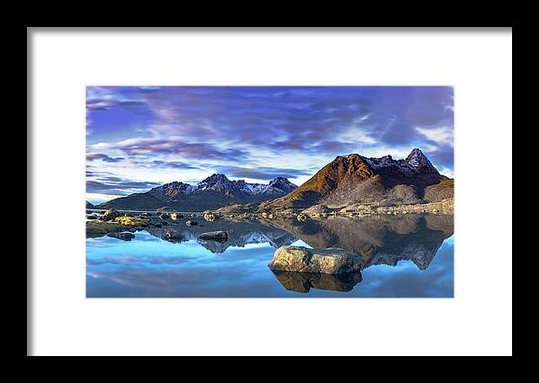 Summer Framed Print featuring the photograph Rock Reflection Landscape by Kai Mueller