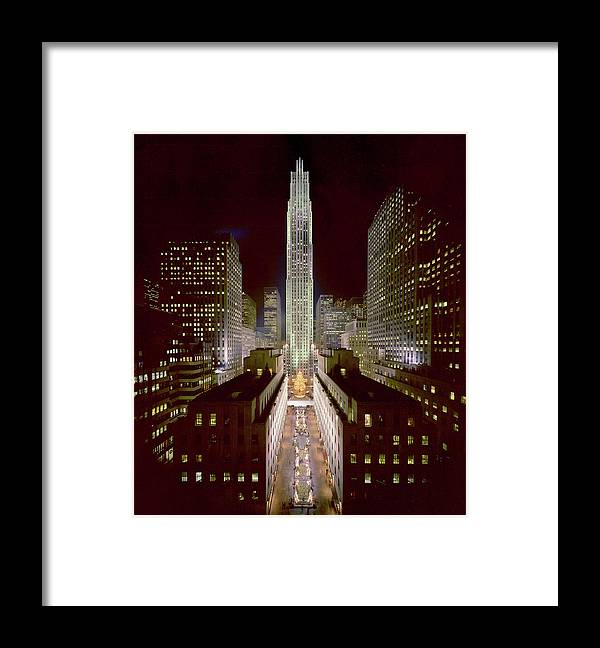 1980-1989 Framed Print featuring the photograph Rockefeller Center, Manhatten, At by Thorney Lieberman