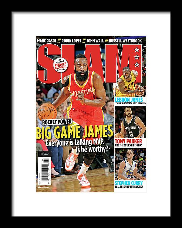 James Harden Framed Print featuring the photograph Rocket Power: Big Game James SLAM Cover by Getty Images