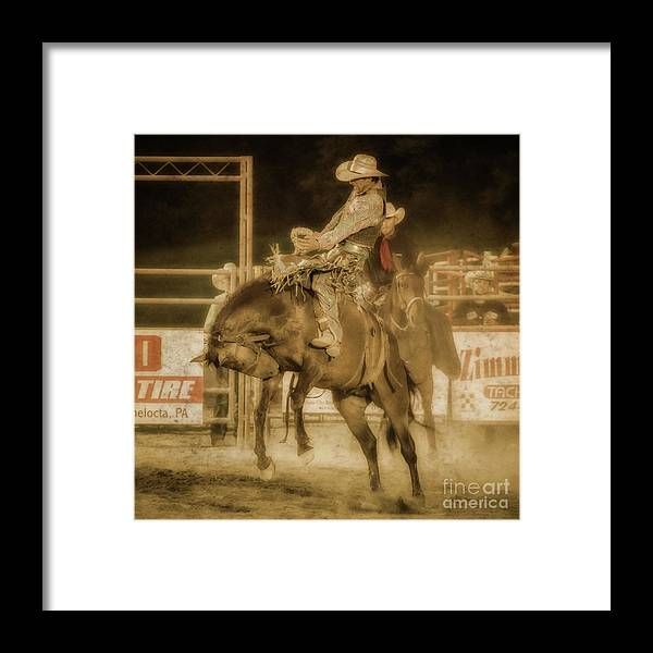 Rodeo Rider Bronco Busting Framed Print featuring the digital art Rodeo Rider Bronco Busting Sepia One by Randy Steele