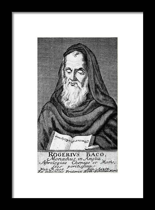 Engraving Framed Print featuring the drawing Roger Bacon, Philosopher And Scientist by Print Collector