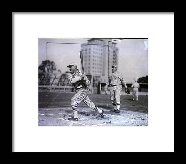 People Framed Print featuring the photograph Rogers Hornsby Batting @ Spring Training by Bettmann