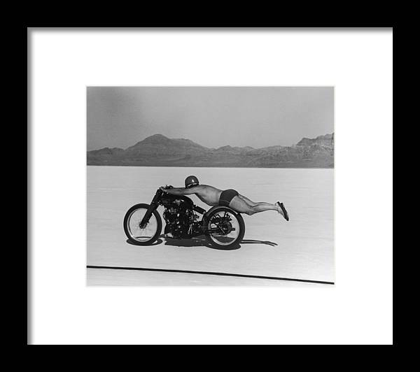 Timeincown Framed Print featuring the photograph Roland Free Breaks Speed Record by Peter Stackpole
