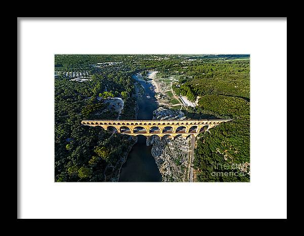 Exterior Framed Print featuring the photograph Roman Aqueduct, Pont Du Gard by Er 09