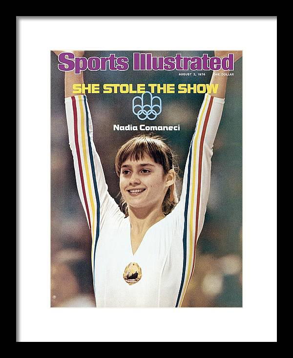 Magazine Cover Framed Print featuring the photograph Romania Nadia Comaneci, 1976 Summer Olympics Sports Illustrated Cover by Sports Illustrated