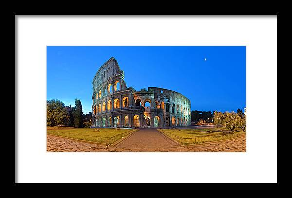 Arch Framed Print featuring the photograph Rome Coliseum Ancient Roman by Fotovoyager