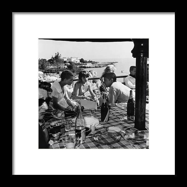 Alain Delon Framed Print featuring the photograph Romy Schneider, Francoise Arnoul And by Keystone-france