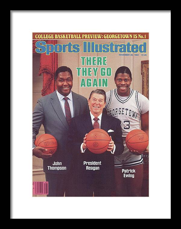 1980-1989 Framed Print featuring the photograph Ronald Reagan With Georgetown University Coach John Sports Illustrated Cover by Sports Illustrated