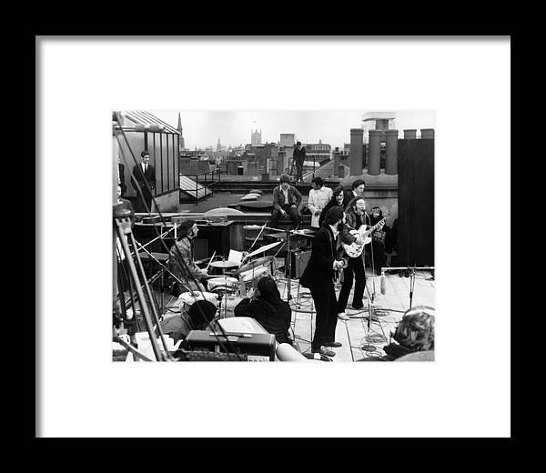 Rock Music Framed Print featuring the photograph Rooftop Beatles by Express