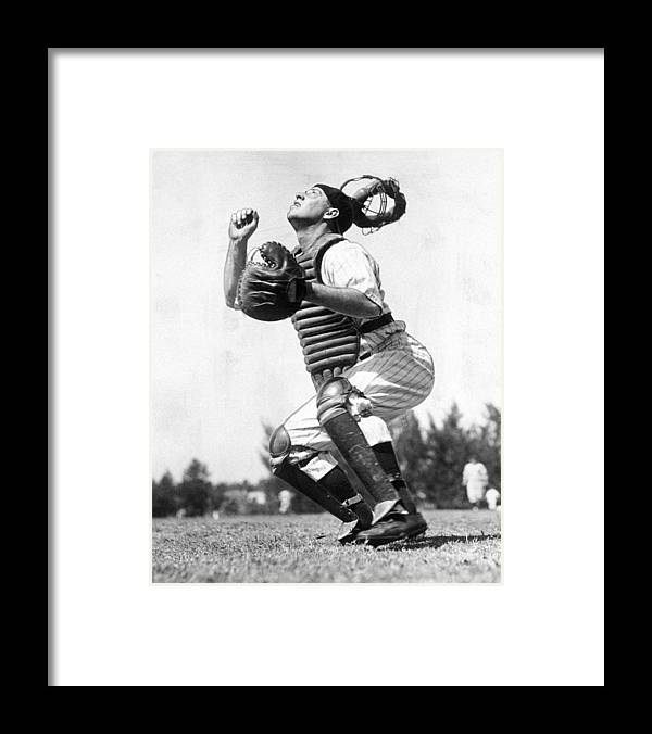 Working Framed Print featuring the photograph Rookie Catcher Warren Buddy Rosar Works by New York Daily News Archive