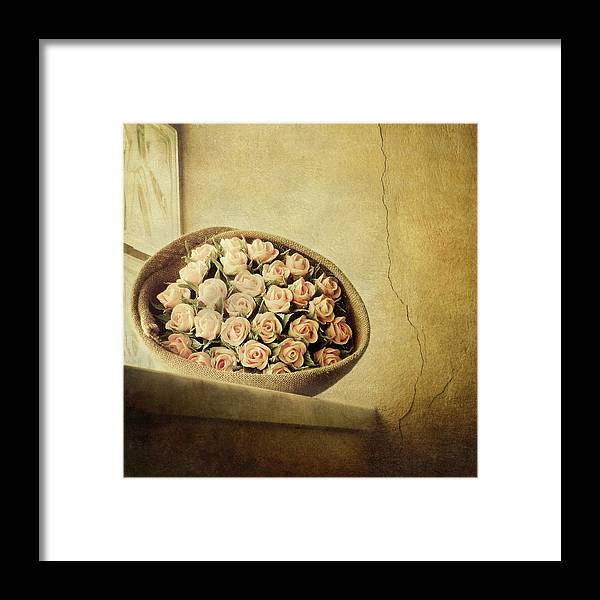 Fragility Framed Print featuring the photograph Roses On Window by Marco Misuri