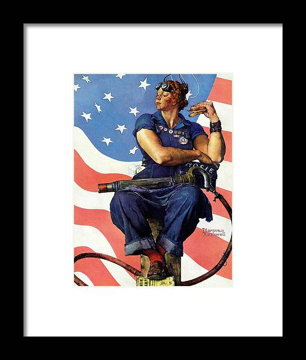 Factories Framed Print featuring the drawing Rosie The Riveter by Norman Rockwell
